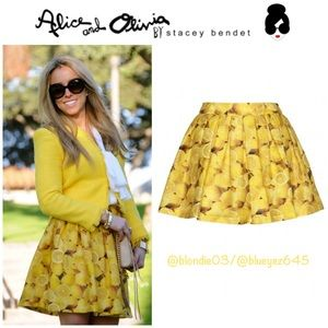 "Alice + Olivia ""Ginnie"" lemon print skirt 4"